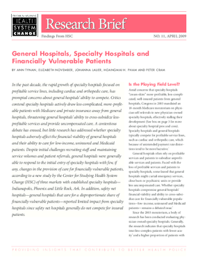 General Hospitals, Specialty Hospitals and Financially Vulnerable Patients