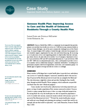Genesee Health Plan: Improving Access to Care and the Health of Uninsured Residents Through a County Health Plan