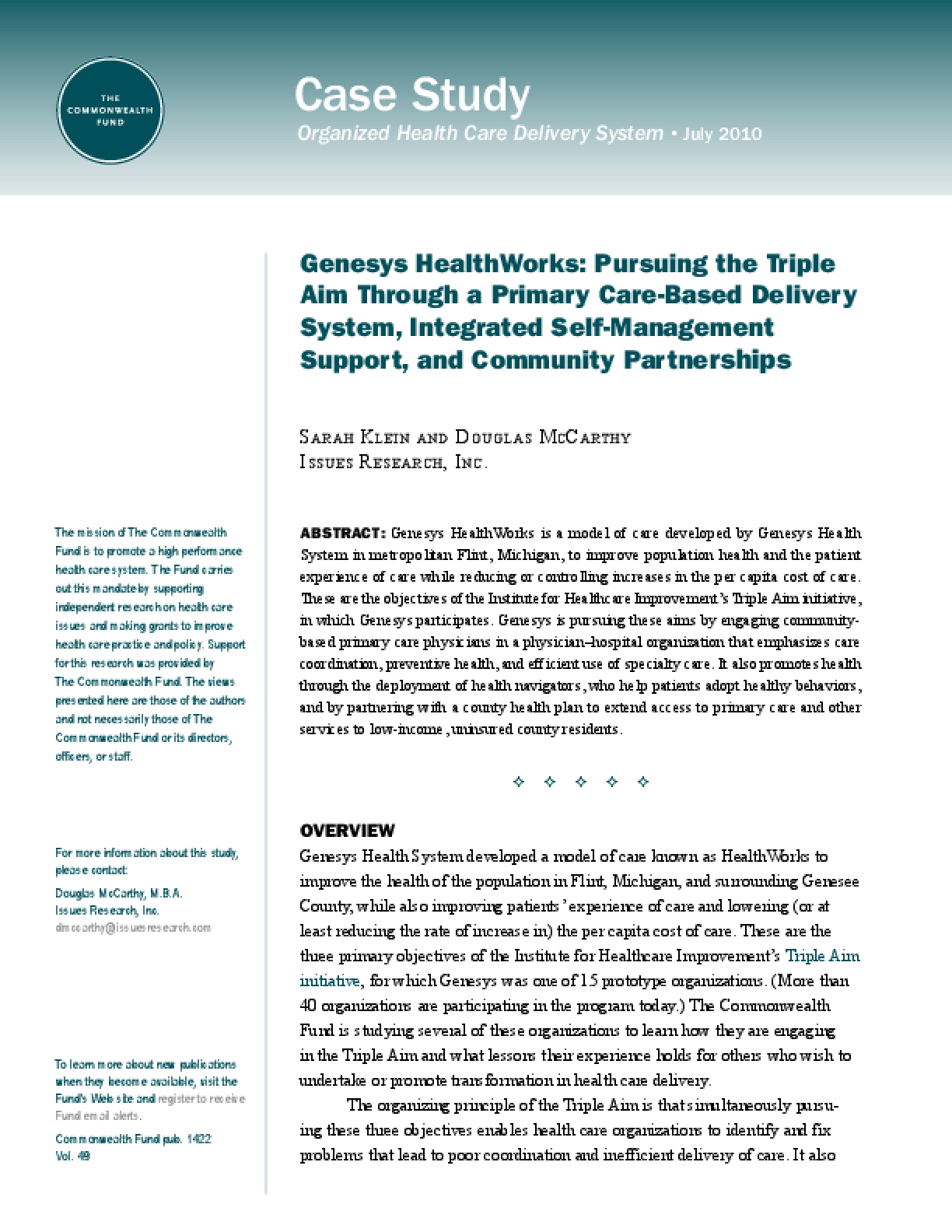 Genesys HealthWorks: Pursuing the Triple Aim Through a Primary Care