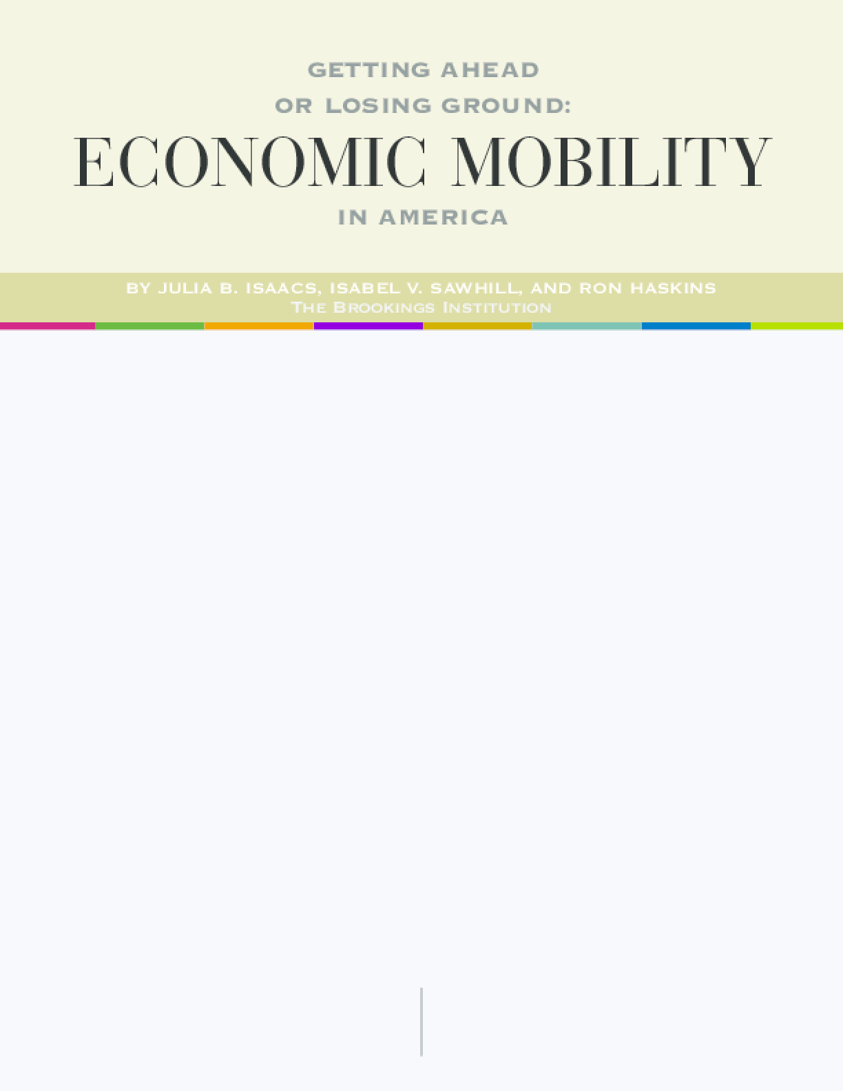 Getting Ahead or Losing Ground: Economic Mobility in America