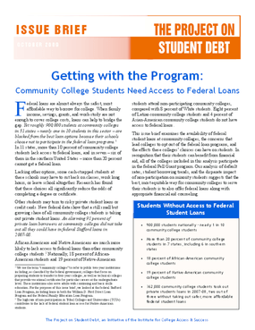 Getting With the Program: Community College Students Need Access to Federal Loans