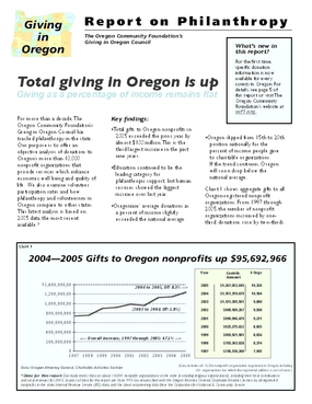Giving in Oregon: Report on Philanthropy