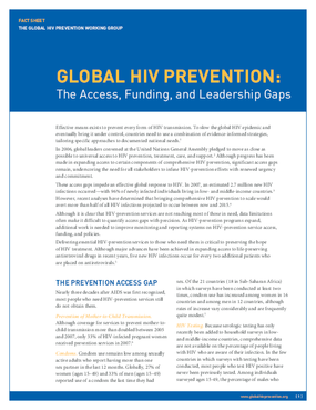 Global HIV Prevention: The Access, Funding, and Leadership Gaps