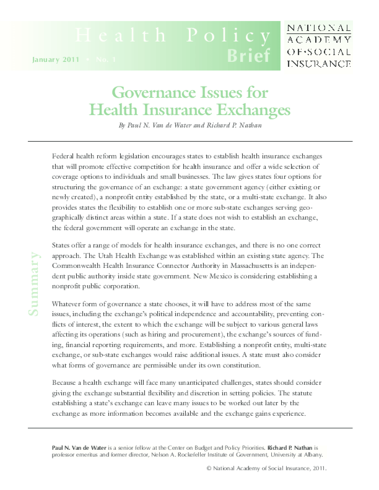 Governance Issues for Health Insurance Exchanges