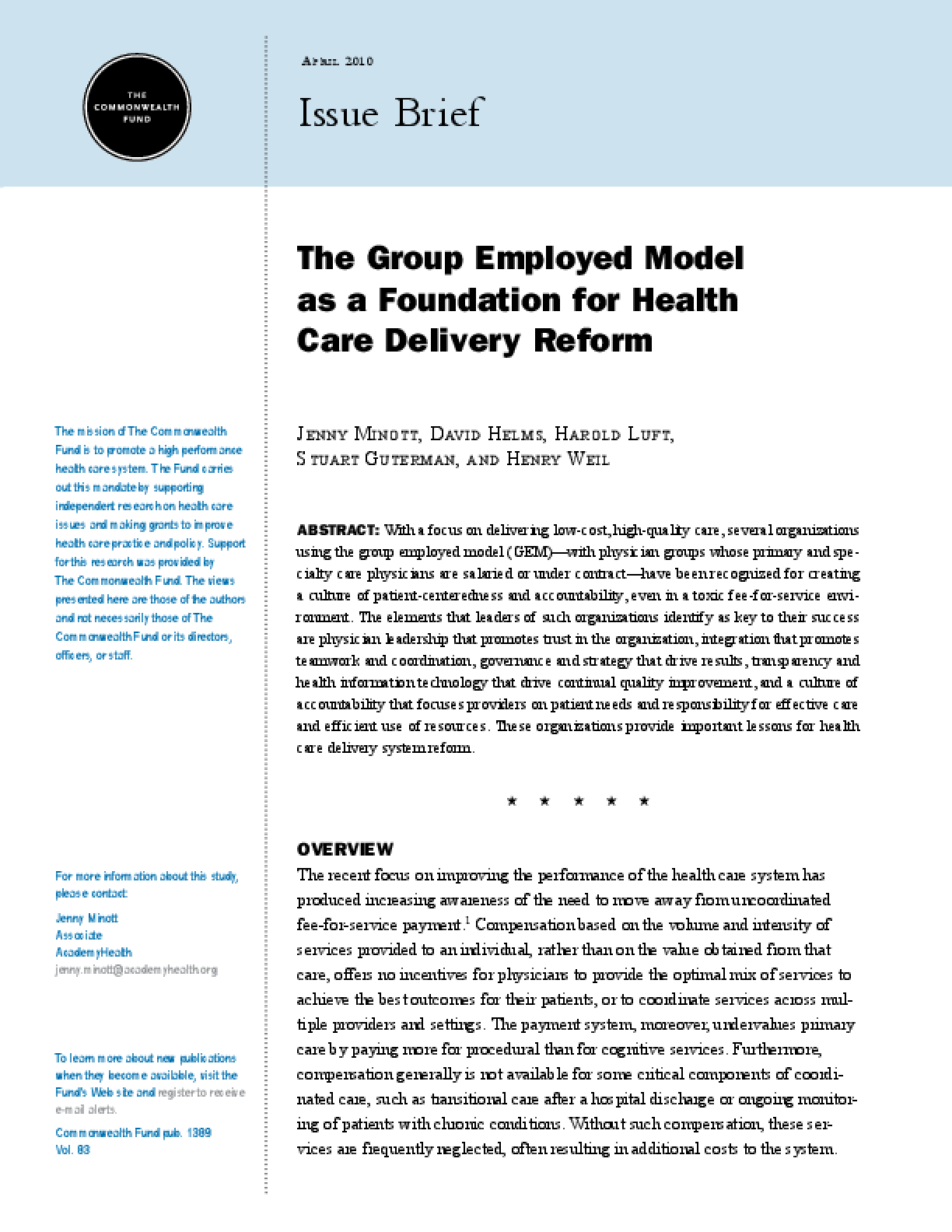 The Group Employed Model as a Foundation for Health Care Delivery Reform