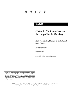 Guide to the Literature on Participation in the Arts