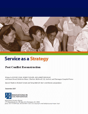 Service as a Strategy: Post Conflict Reconstruction