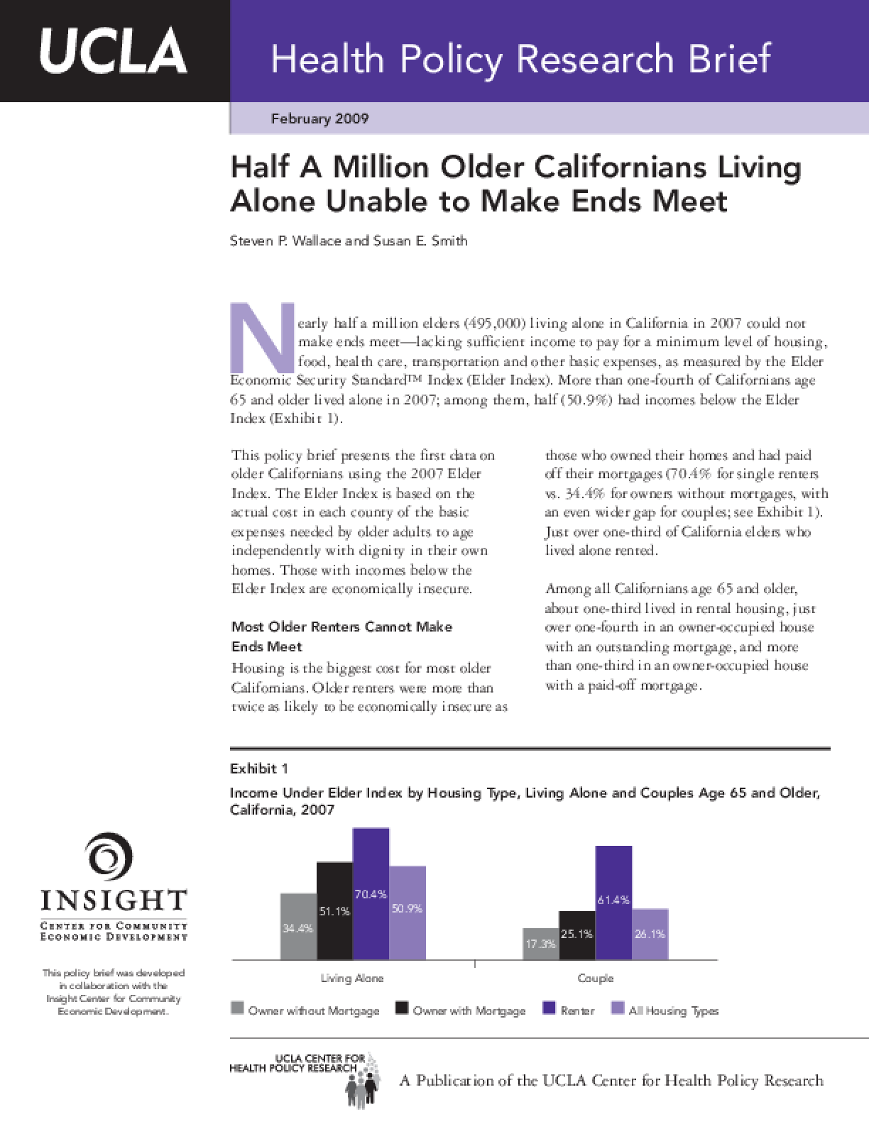 Half a Million Older Californians Living Alone Unable to Make Ends Meet