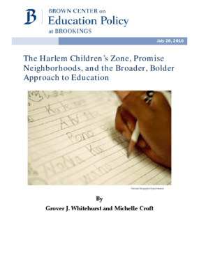 The Harlem Children's Zone, Promise Neighborhoods, and the Broader, Bolder Approach to Education
