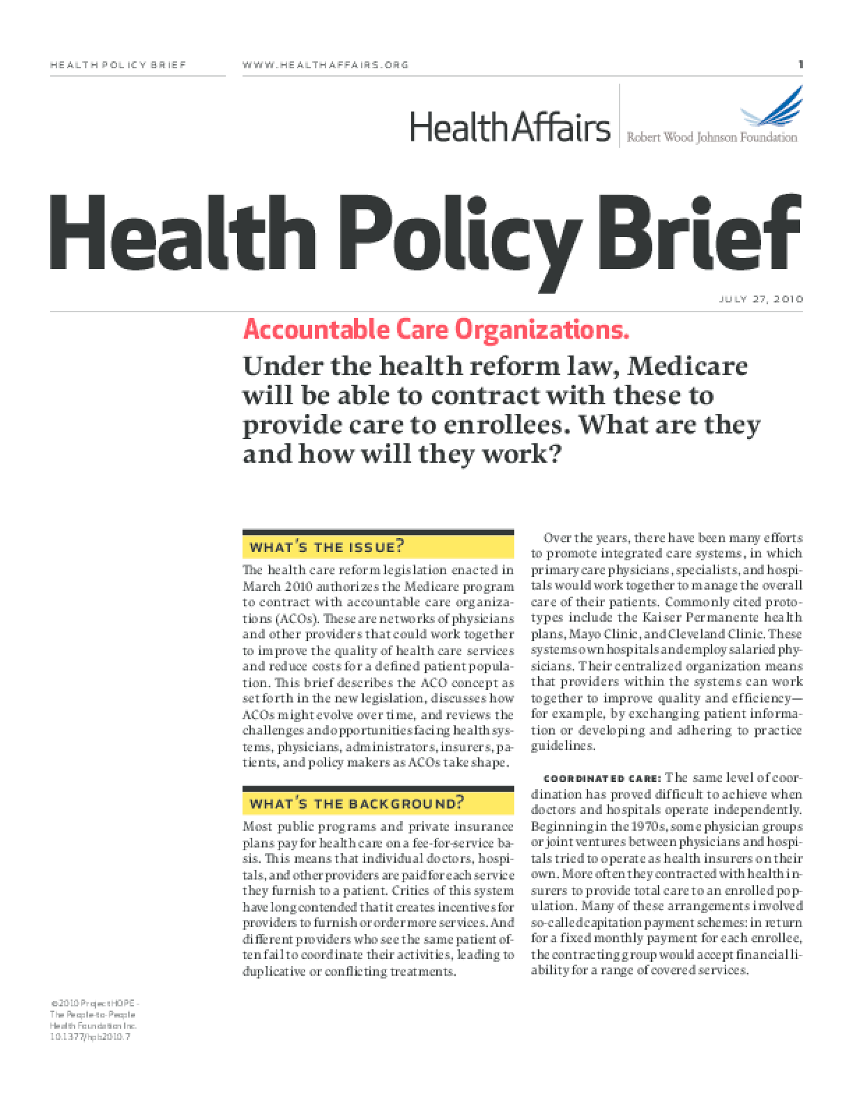 Health Affairs/RWJF Health Policy Brief: Accountable Care Organizations