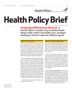 Health Affairs/RWJF Health Policy Brief: Comparative Effectiveness Research