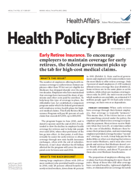 Health Affairs/RWJF Health Policy Brief: Early Retiree Insurance
