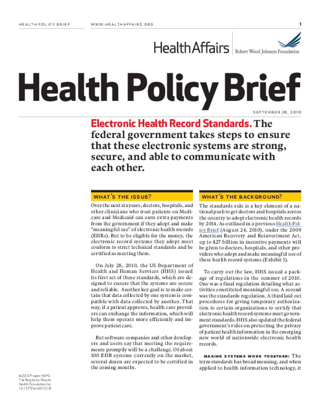 Health Affairs/RWJF Health Policy Brief: Electronic Health Record Standards