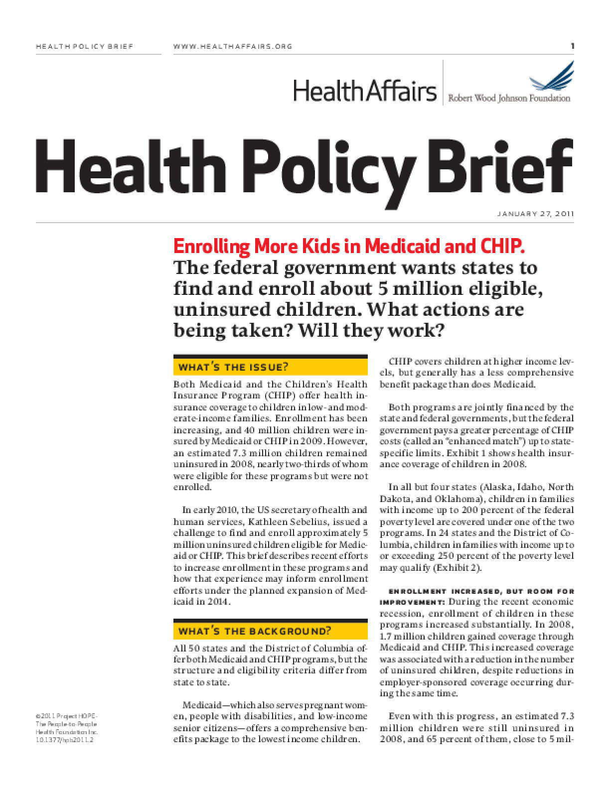 Health Affairs/RWJF Health Policy Brief: Enrolling More Kids in Medicaid and CHIP