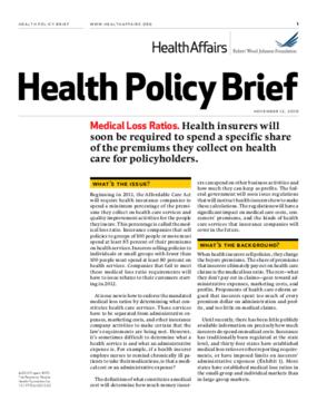 Health Affairs/RWJF Health Policy Brief: Medical Loss Ratios