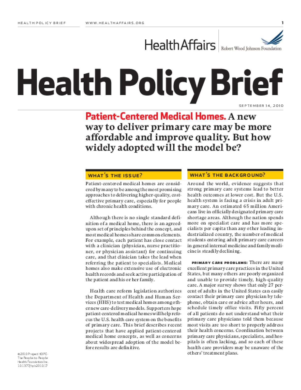 Health Affairs/RWJF Health Policy Brief: Patient-Centered Medical Homes