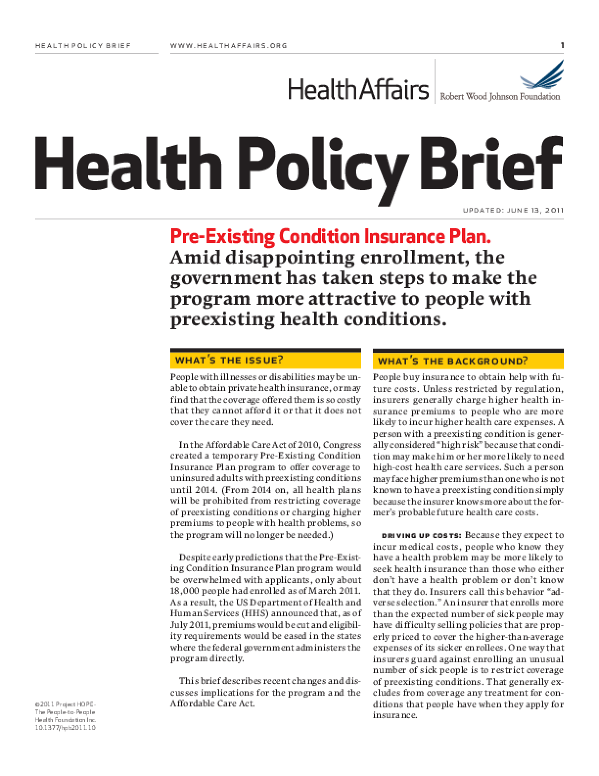 Health Affairs/RWJF Health Policy Brief: Pre-Existing Condition Insurance Plan