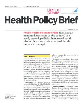 Health Affairs/RWJF Health Policy Brief: Public Health Insurance Plan