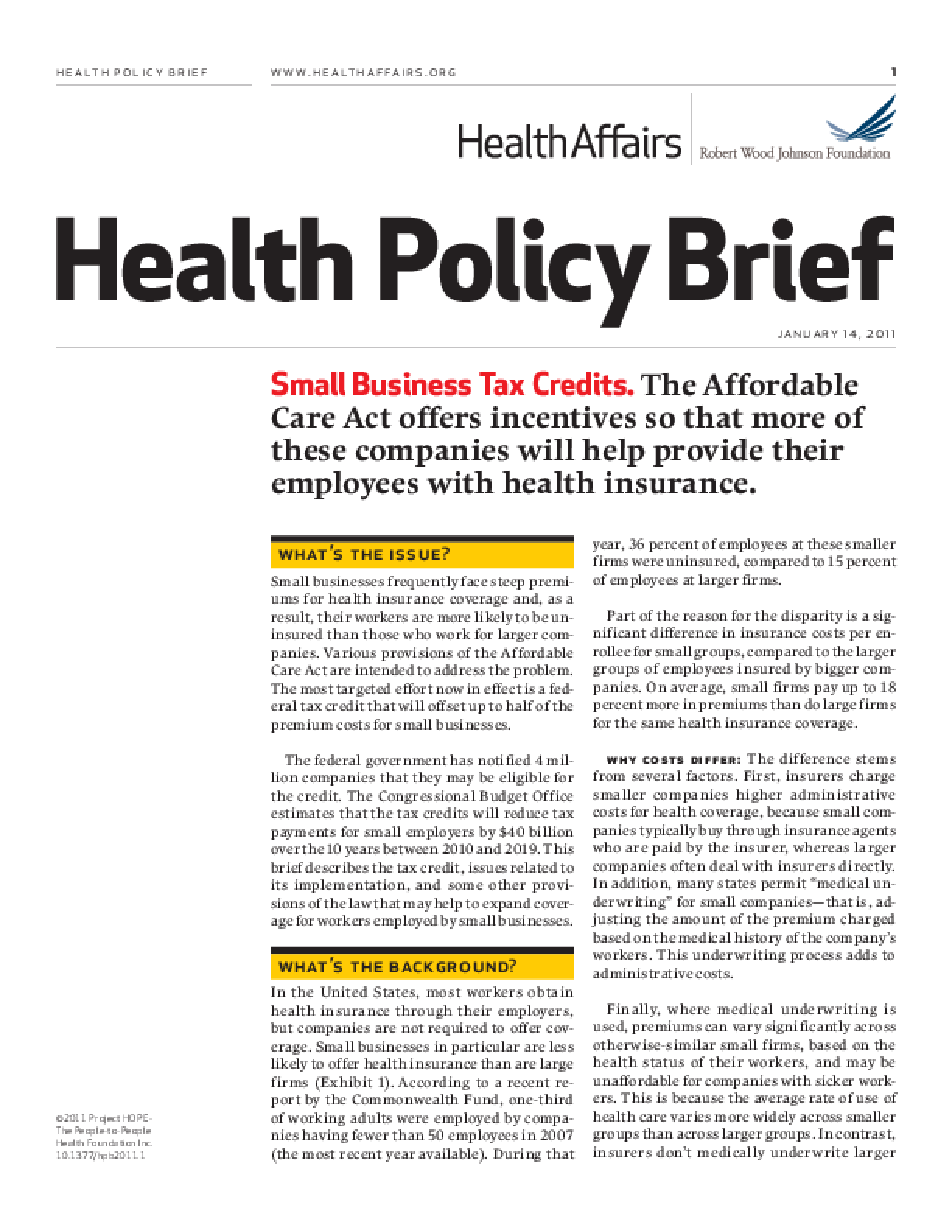 Health Affairs/RWJF Health Policy Brief: Small Business Tax Credits