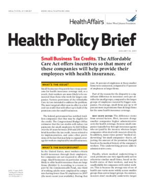 Health Affairs/RWJF Health Policy Brief: Small Business Tax Credits