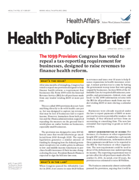 Health Affairs/RWJF Health Policy Brief: The 1099 Provision