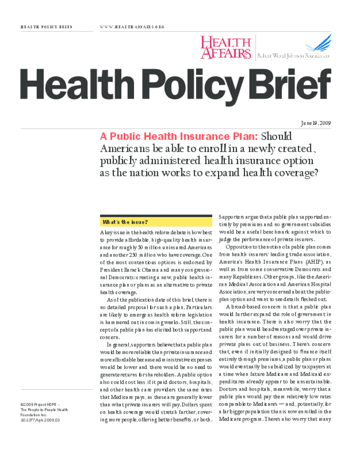 Health Affairs/RWJF Policy Brief: A Public Health Insurance Plan