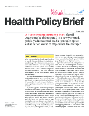 Health Affairs/RWJF Policy Brief: A Public Health Insurance Plan
