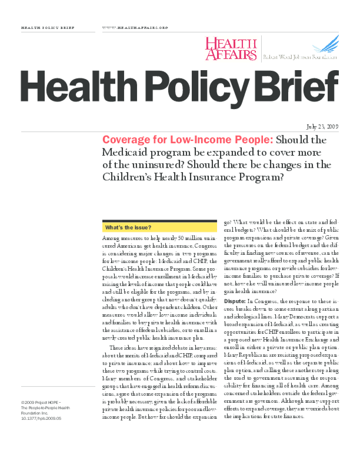 Health Affairs/RWJF Policy Brief: Coverage for Low-Income People