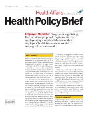 Health Affairs/RWJF Policy Brief: Employer Mandate