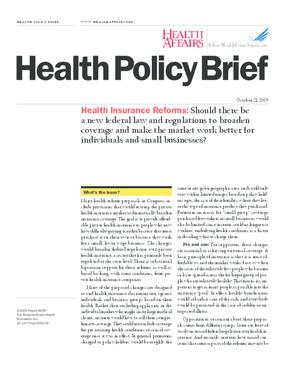 Health Affairs/RWJF Policy Brief: Health Insurance Reforms