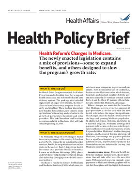 Health Affairs/RWJF Policy Brief: Health Reform's Changes in Medicare