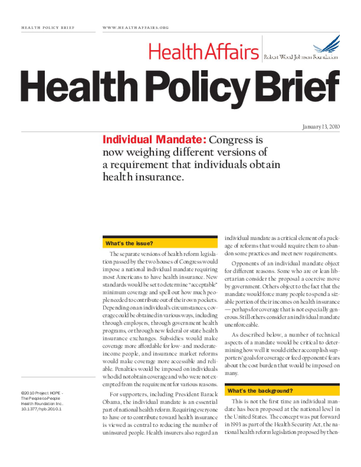 Health Affairs/RWJF Policy Brief: Individual Mandate