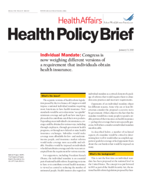 Health Affairs/RWJF Policy Brief: Individual Mandate