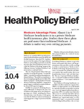 Health Affairs/RWJF Policy Brief: Medicare Advantage Plans