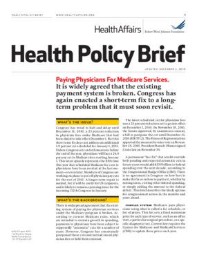 Health Affairs/RWJF Policy Brief: Paying Physicians for Medicare Services
