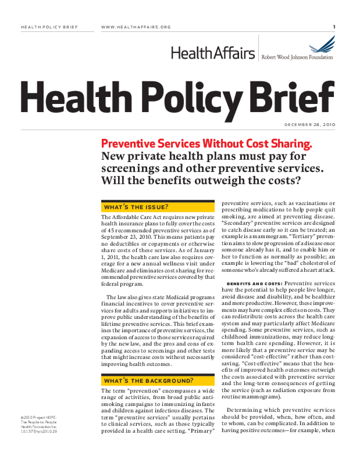 Health Affairs/RWJF Policy Brief: Preventive Services Without Cost Sharing