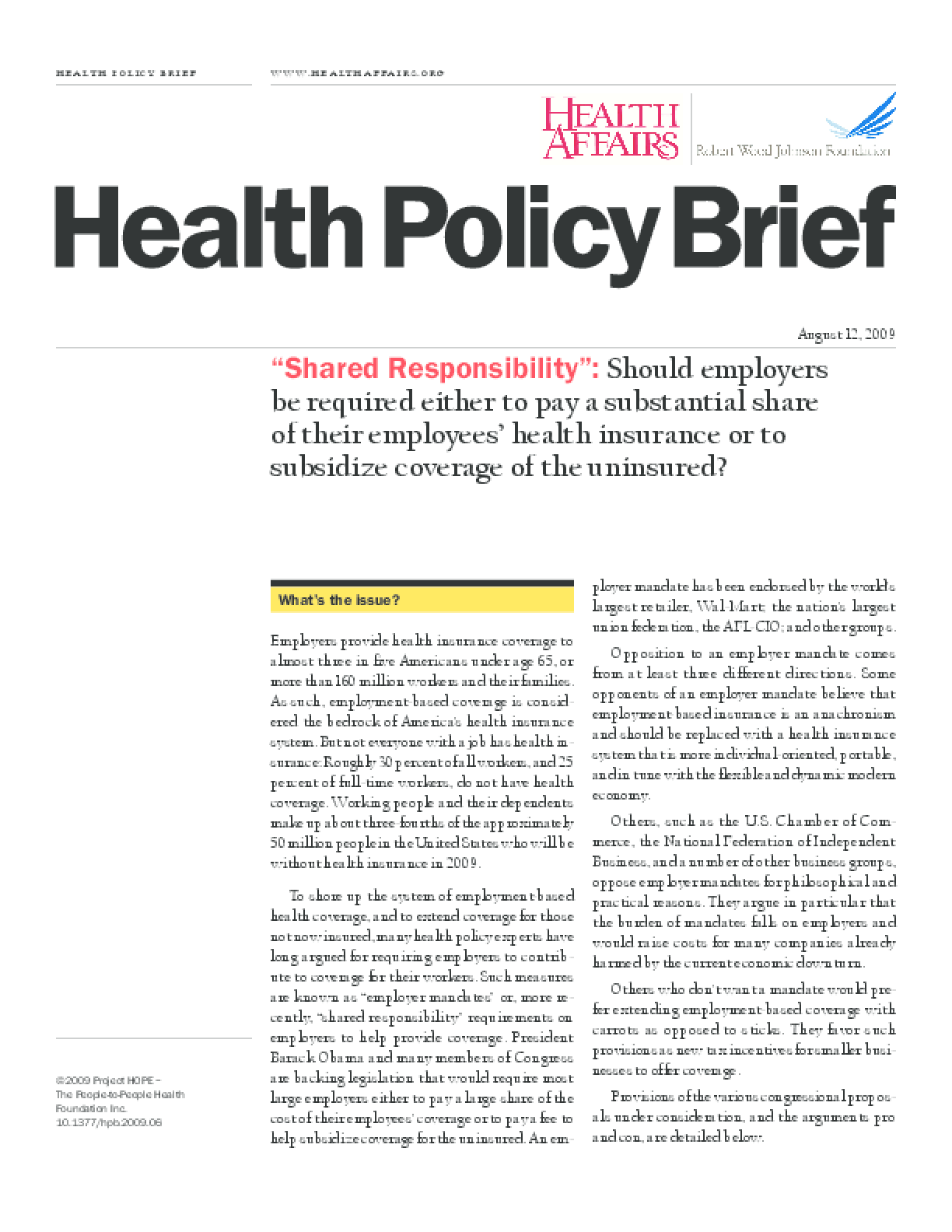 Health Affairs/RWJF Policy Brief: Shared Responsibility