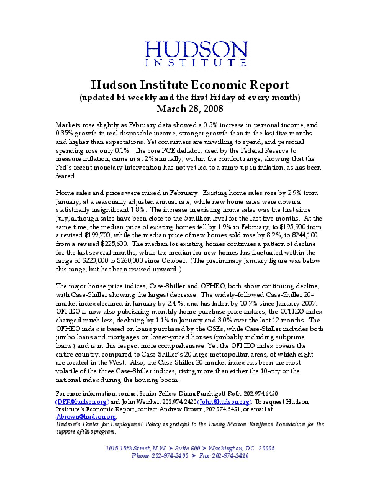 Hudson Institute Economic Report 03-28-2008