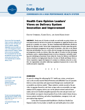 Health Care Opinion Leaders' Views on Delivery System Innovation and Improvement