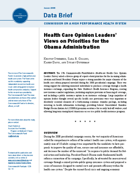 Health Care Opinion Leaders' Views on Priorities for the Obama Administration