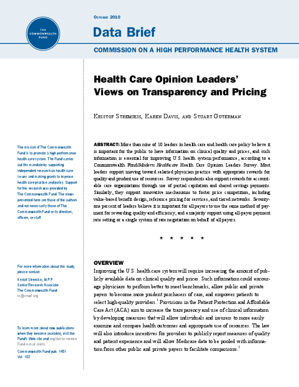 Health Care Opinion Leaders' Views on Transparency and Pricing