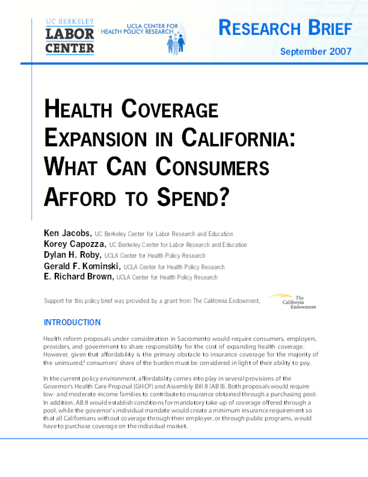 Health Coverage Expansion in California: What Can Consumers Afford to Spend?