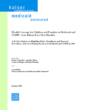 Health Coverage for Children and Families in Medicaid and SCHIP: State Efforts Face New Hurdles