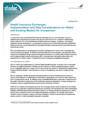 Health Insurance Exchanges: Implementation and Data Considerations for States and Existing Models for Comparison