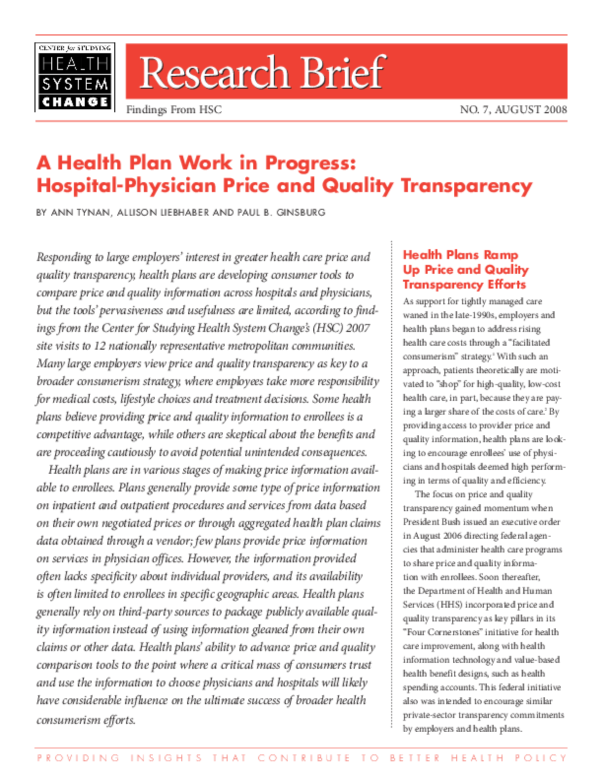 A Health Plan Work in Progress: Hospital-Physician Price and Quality Transparency
