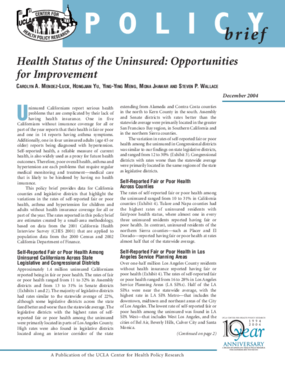 Health Status of the Uninsured: Opportunities for Improvement