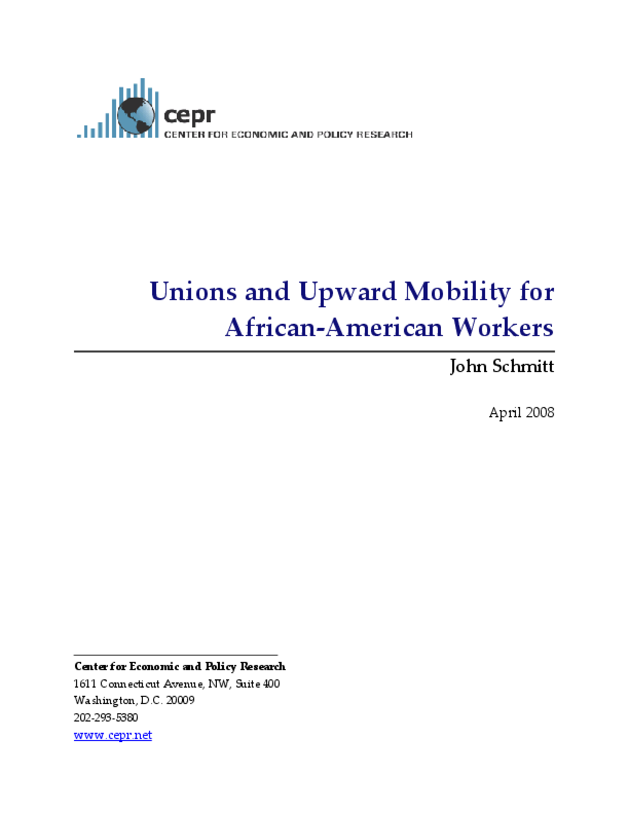 Unions and Upward Mobility for African-American Workers