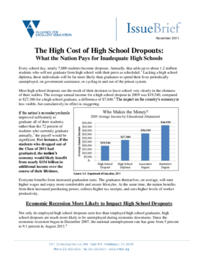 The High Cost of High School Dropouts: What the Nation Pays for Inadequate High Schools