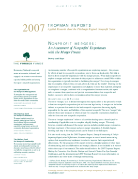 Nonprofit Mergers: An Assessment of Nonprofits' Experiences with the Merger Process