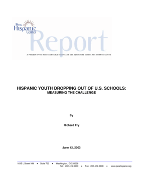 Hispanic Youth Dropping Out of U.S. Schools: Measuring the Challenge